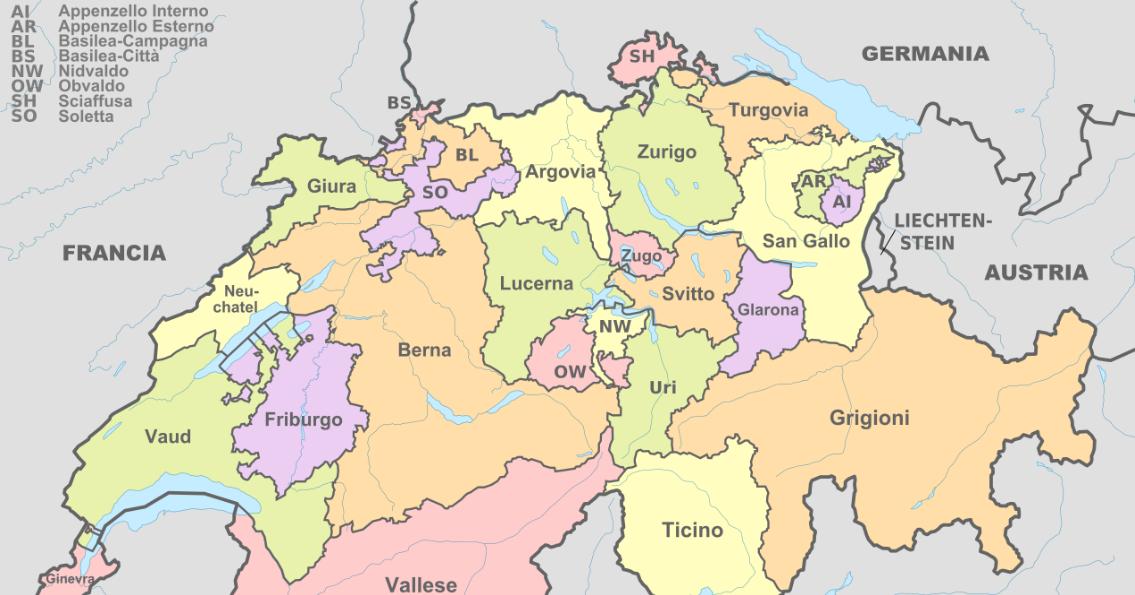 Cantoni Cartina Politica Svizzera.4 Federazioni La Svizzera Eurobull It